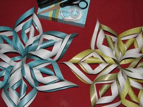 Разноцветные снежинки из бумаги