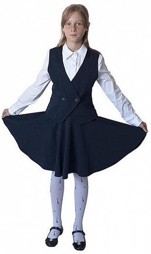 Школьный костюм - жилет и расклешенная юбка