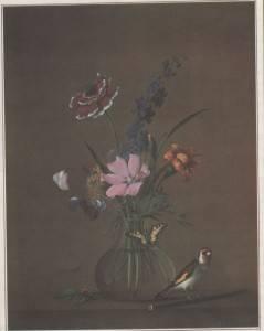 Ф. Толстой. Букет цветов, бабочка и птичка.